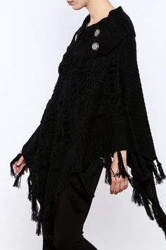 Black poncho sweater with button and fringe details.  Black Poncho Sweater by Comfi fab. Clothing - Sweaters - Ponchos & Capes Texas