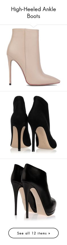 """""""High-Heeled Ankle Boots"""" by mon-ami-louis ❤ liked on Polyvore featuring shoes, boots, ankle booties, heels, ankle boots, booties, nude pu, high heel booties, heeled ankle boots and nude ankle boots"""