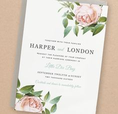 Printable Wedding Invitation Template | INSTANT DOWNLOAD | Vintage Botanical | Edit Yourself in Word or Pages | Editable Artwork Colors by SwellAndGrand on Etsy https://www.etsy.com/listing/226211693/printable-wedding-invitation-template