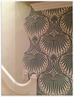 Denise McGaha Interiors, bold wallpaper; Farrow & Ball.