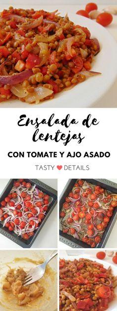 Ensalada de lentejas con tomate y ajo asado   Recetas saludables, fáciles y económicas para el día a día   Tasty details