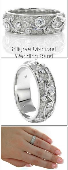 The Cirrus diamond wedding band design frames beautiful scroll filigree curls which capture varying sizes of round cut diamonds. The unique hand stippling on this design makes a wonderful background to the high polished turns of filigree. The domed band is finished with edges of milgrain.