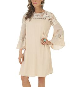 Look at this #zulilyfind! Beige Lace-Accent Bell-Sleeve Shift Dress #zulilyfinds