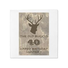 Hunting Mens Camo Buck Animal Birthday Party Funny Standard Luncheon Napkin Personalize this wildlife celebration napkin for your outdoors man, sportsman or hunting guide big over the hill birthday party! Great for a 20th , 30th , 40th , 50th , 60th , 70th birthday or any other age! This product features a deer buck head with antlers in brown with a brown camo background. #funny #hunting #camo #buck