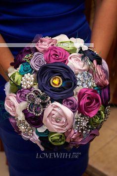 silk flower bouquet w/ brooches - add knitted flowers? @Emily Schoenfeld Schoenfeld Gibson