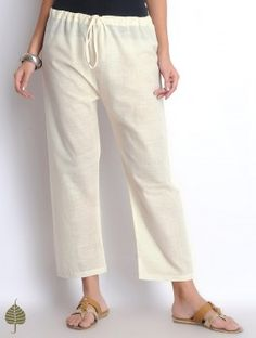 Off White Hand Woven Tie-Up Waist Cotton Straight Pants by Jaypore
