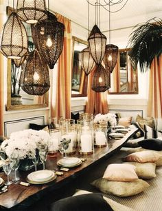 boho chic, interior design, bohemian dining room, table setting, clustered lights, funky interior design, home decor