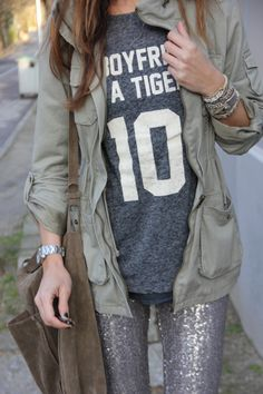 ❥ number shirt , glitter pants & olive military jacket