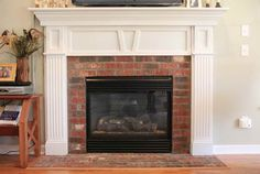Perfect update to a red brick fireplace.... preferably with the brick continuing above the white! Fireplace Makeover Ideas – Modern Style Fireplaces for Home Atmosphere: Fireplace Makeover Ideas With Wooden Shelves ~ gozetta.com Indoor Inspiration