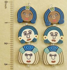 6 Assorted Focal Fimo Polymer Clay Colorful Fun Funky Face Two Sided Beads