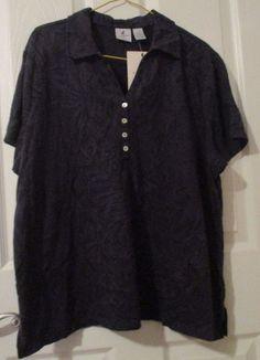 Caribbean Joe Women's Pull Over Collared Tee Shirt, Size XLarge, NWT's #CaribbeanJoe #Blouse #Casual