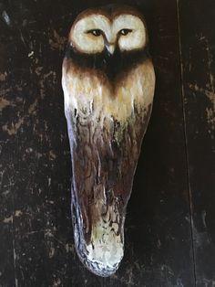 Driftwood sculpture Owl by Sarah Dawn Morris at TRIBE Driftwood Sculpture, Dawn, Etsy Seller, Bird, Creative, Artist, Animals, Animales, Animaux