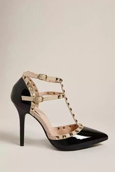Product Name:Faux Patent Leather Studded Heels, Category:Shoes, Price:35
