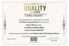 JEST! Znak Jakości TGLS Quality Alliance   Kadry CNC - PRAKTYCZNE SZKOLENIA I KURSY CNC