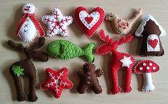 Ručne šité vianočné dekorácie z filcu, vyplnené dutým vláknom. Vhodné na položenie aj zavesenie....