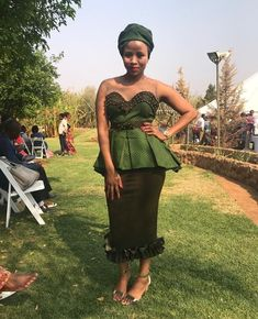 Shweshwe is widely used in southern Africa to make dresses, skirts, aprons and wraparound clothing. Xhosa Attire, African Attire, African Wear, African Women, African Dress, African Clothes, Seshweshwe Dresses, Wedding Dresses, Nice Dresses