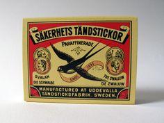 Vintage Match Box Art  http://www.paintedfishstudio.com/images/matchbox/swallow_blog.jpg