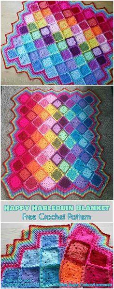 Happy Harlequin Blanket Free Crochet Pattern #freecrochetpattern #crochetblanket