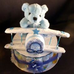 baby diaper cake roses for boy   Blue AIRPLANE Baby Shower Gift Boy Diaper Cake Centerpiece - Diapering