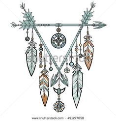 Decorative triangle from arrows. Jewelry feathers and beads, ethnic amulets. American Indians traditional symbol. Boho design. Vector illustration isolated on a white background.