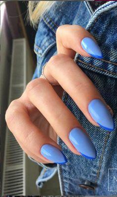 Bright Summer Acrylic Nails, Blue Acrylic Nails, Purple Nails, Bright Blue Nails, Pastel Nails, Acrylic Summer Nails Almond, Baby Blue Nails With Glitter, Ocean Blue Nails, Dark Gel Nails