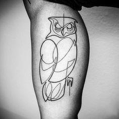 Owl Bicep Tribal Line Tattoos For Men
