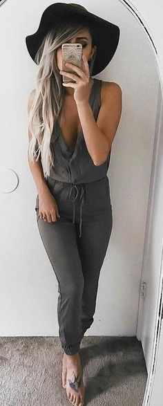 31132c6e53 Clothes · Army Green Playsuit Source Mexico Vacation Outfits