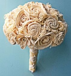 Alternative Bouquet - Custom Wedding Bouquet Ivory Bridal Bouquet by CuriousFloralCrafts, $108.00