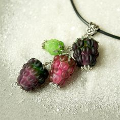 Raspberries lampwork pendant glass berry necklace by KatyaGlass