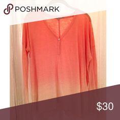 Long sleeve linen shirt Coral ombré, long sleeve, flowy linen shirt Calypso St. Barth Tops Blouses