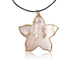 Star Shaped 18k YG Filled Pearl in Oyster Pendant, Leather Cord, $9.99