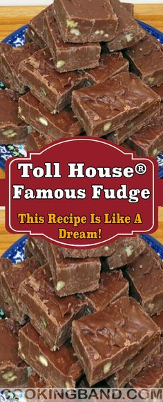 Toll House® Famous Fudge – This Recipe Is Like A Dream! | YOUR LIFE Fudge Recipes, Sweets Recipes, Chocolate Recipes, Baking Recipes, Cookie Recipes, Copycat Recipes, Butterscotch Fudge, Oreo Fudge, Christmas Goodies