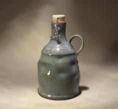 Handmade Custom Wide Top Stoneware Pottery Flip Top Beer Growler / Howler.