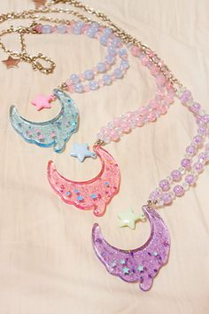 Fairy Kei/Lolita Melty Moon Pastel Necklaces.