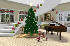 Christmas Morning 2012 - Designed by Johnny Bang.  Floor plan featuring Christmas tree, grand piano, tricycle, a grand staircase, scenic windows, gifts, wall art and wood flooring designed in RoomSketcher floorplanner. Very popular with our Facebook Fans!  http://planner.roomsketcher.com/?ctxt=rs_com  #Christmas #floorplan #piano #tricycle #stairs #staircase #windows #gifts #art #wood #flooring #floorplanner #RoomSketcher