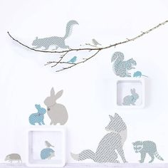 Create a woodland scene in your child's room or baby nursery with these charming wall stickers. Includes a fox, squirrels, rabbits, hedgehogs and a baby badger! Nursery Wall Stickers, Wall Decals, Woodland Bedroom, Nursery Neutral, Woodland Animals, Woodland Animal Nursery, Nursery Themes, Kids Room, At Least