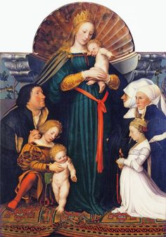 1525-1526 & 1528 Hans Holbein the Younger - Darmstadt Madonna (Madonna of Mayor Jakob Meyer zum Hasen) Bode Museum, Most Expensive Painting, Hans Holbein The Younger, Web Gallery Of Art, Canvas Online, Landsknecht, Oil Painting For Sale, Painting Canvas, Painting Classes