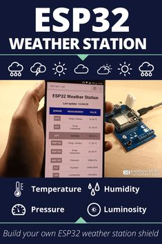DIY Weather Station Shield Random Nerd Tutorials – In this project I'll show you how you can build an all-in-one weather station shield and display the sensor readings on a web server - Diy Projects Arduino Home Automation, Home Automation Project, Esp8266 Projects, Robotics Projects, Electronic Circuit Projects, Electronics Projects, Diy Electronics, Arduino Modules, Esp8266 Wifi
