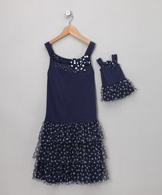 {Navy Polka Dot Ruffle Dress & Doll Outfit} My girls love these combos for their American Girl dolls. Of course, you know me, love the polka dots!