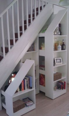 Bookcase Door Under Stairs . Bookcase Door Under Stairs . I Like Chalk Board Paint for Cubby Under Stairs Staircase Storage, Staircase Design, Modern Staircase, Under Stair Storage, Hidden Storage, Hidden Shelf, Small Storage, Bookcase Stairs, Diy Storage