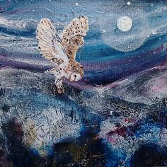 Barn Owl Hunting by Moonlight in purples and blues, 'Silent Hunter', a mounted limited edition digital print from an original mixed media. Small Paintings, Bird Paintings, Owl Artwork, Owl Moon, Barred Owl, Winter's Tale, Mixed Media Artwork, Moon Art, Wildlife Art
