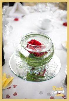 Red Rose Wedding Theme whispers of passion and breaths of love on your wedding Short Centerpieces, Elegant Centerpieces, Rose In A Glass, Peonies Centerpiece, Single Red Rose, Red Rose Wedding, Anniversary Parties, Event Decor, Red Roses