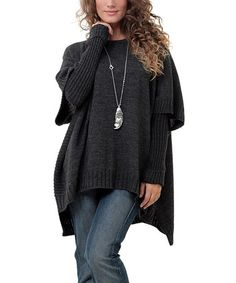 Take a look at this Anthracite Scoop Neck Poncho & Arm Warmers - Plus on zulilymemtoday!me encanta
