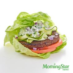 The Totally Vegged-Out Burger – made with MorningStar Farms® Grillers® Original Veggie Burger (which has 15g of protein!)