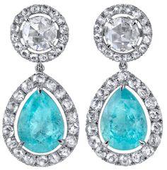 Paraiba Tourmaline and Rose Cut Diamond earrings