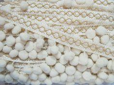 5 Yards Cream Large Pom Pom with Stitch Trim Ivory by ichimylove