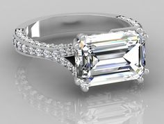 4.18 tcw Natural Emerald Cut East-West Diamond Engagement Ring White Gold 14k