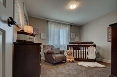 One of the secondary bedrooms in the Madison E showhome is done as a - so adorable! House Plans, Nursery, Home, Cribs, Show Home, Bed, Furniture, Bedroom