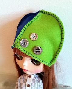 Blythe felt helmet,4 part hat with devoration on seams, Pullip blue and green felt hat, some SD dolls can use it too. size 10/11  A new cute 2 colored felthat made by me, Lisa Astrup for Blythe or Pullip. Decorated with 3 vintage buttons.  This price is a special  new years price , so HURRY there is this 1 only.  You buy on 1 hat only, no dolls or props.
