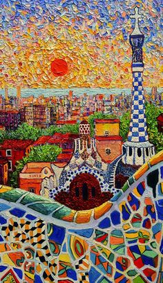 Barcelona Painting - Barcelona View From Guell Park - Palette Knife Oil Painting By Ana Maria Edulescu - Right Panel by Ana Maria Edulescu